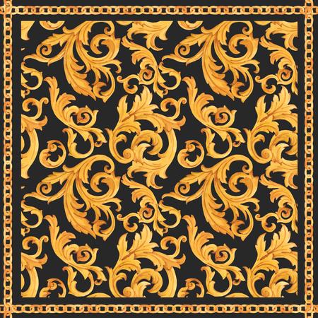 Stampa di lusso ricca di ornamento rococò modello barocco dorato di vettore dell'acquerello