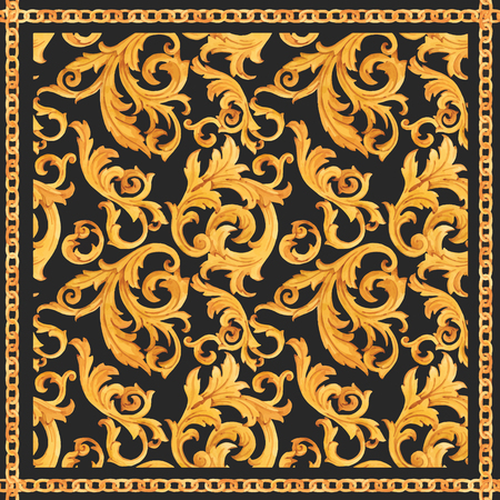 Watercolor vector golden baroque pattern rococo ornament rich luxury print Zdjęcie Seryjne - 115324144