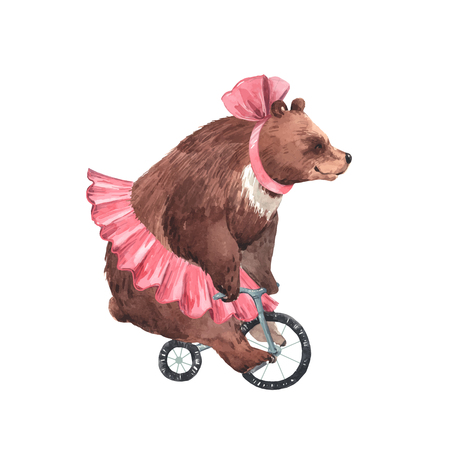 Beautiful vector watercolor circus bear on bike illustration