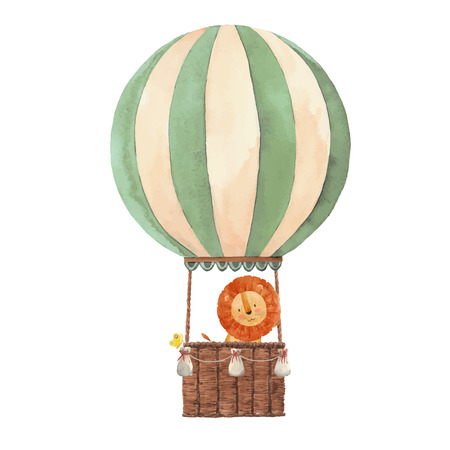 Beautiful air baloon watercolor hand drawn vector illustration Çizim