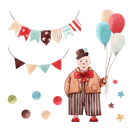 Beautiful vector watercolor set with clown and some circus illustrations 向量圖像