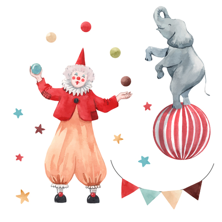 Beautiful vector watercolor set with clown and some circus illustrations Illustration