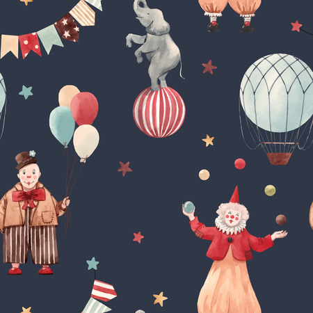 Beautiful vector seamless pattern with circus illustrations clowns and animals Vettoriali