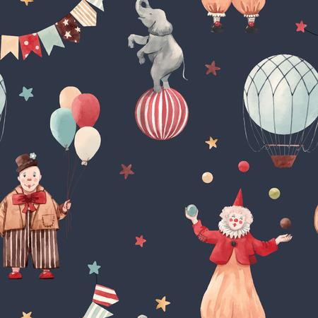 Patrón transparente de vector hermoso con ilustraciones de circo payasos y animales