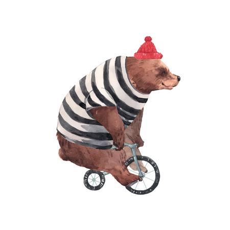 Oso de circo acuarela hermoso vector en ilustración de bicicleta