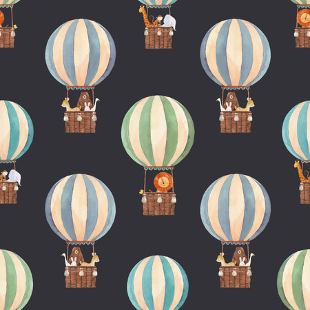 Beautiful vector seamless pattern with watercolor air baloons with cute animals Illustration