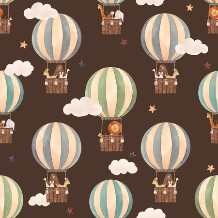 Beautiful vector seamless pattern with watercolor air baloons with cute animals Vectores