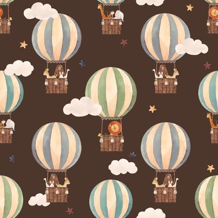 Patrón transparente de vector hermoso con globos de aire acuarela con animales lindos