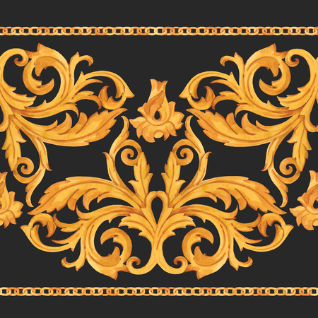 Watercolor vector golden baroque pattern rococo ornament rich luxury print Reklamní fotografie - 122039166