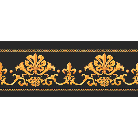Watercolor vector golden baroque pattern rococo ornament rich luxury print Reklamní fotografie - 115505729