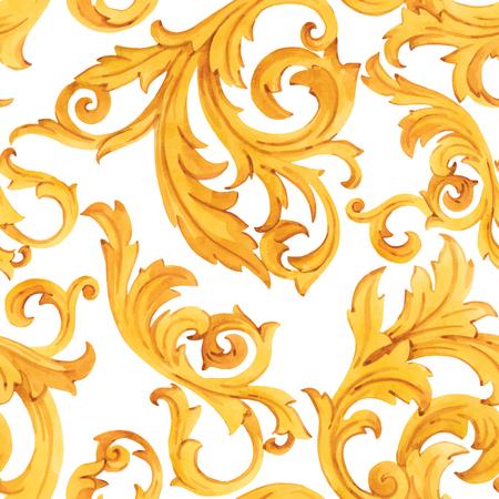 Vector aquarelle motif baroque doré ornement rococo riche impression de luxe Vecteurs