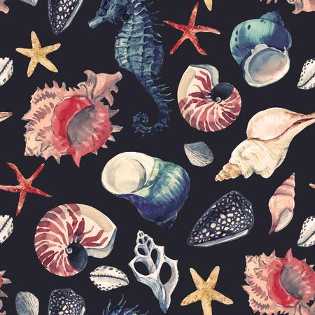 Patrón de vector de vida marina acuarela
