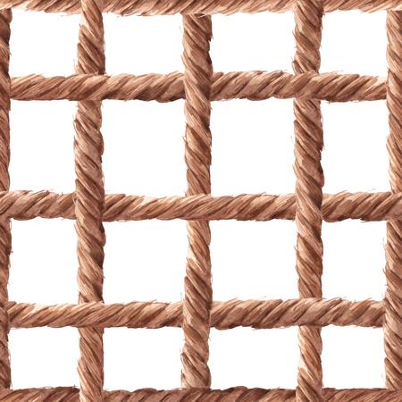 Watercolor rope fishing net vector pattern Stock Vector - 115697014