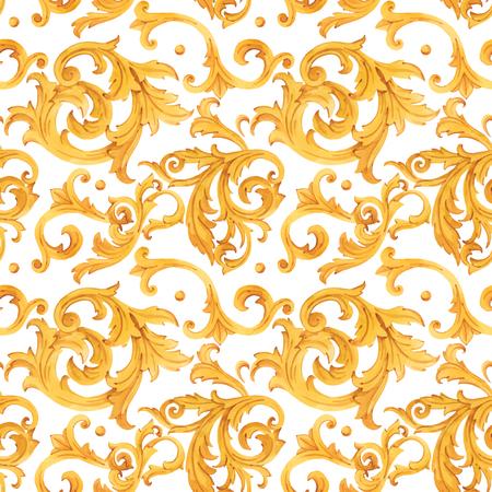Akwarela złoty barokowy wektor wzór rokoko ornament bogaty luksusowy nadruk