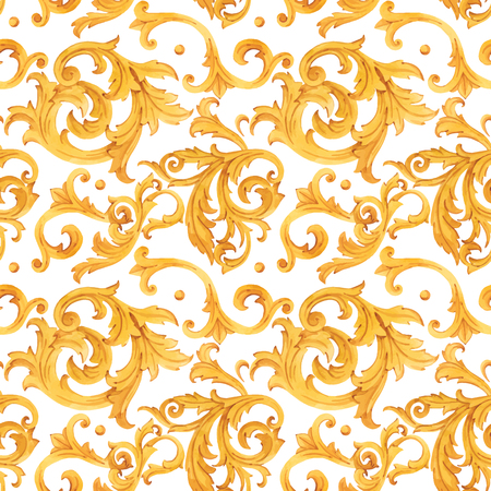 Patrón de vector barroco dorado acuarela ornamento rococó rico lujo estampado
