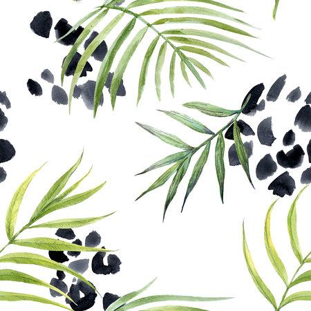Watercolor abstract tropical pattern Banco de Imagens