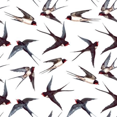 Nahtloses Muster des schönen Vektors mit Hand gezeichneten Aquarellschwalbenvögeln