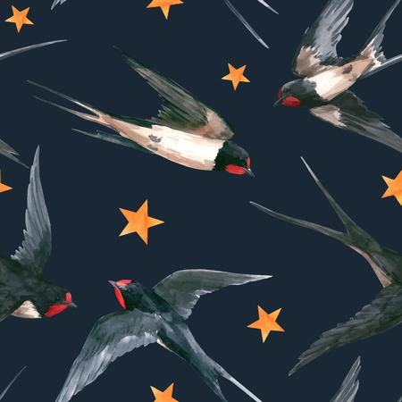 Watercolor swallow vector pattern Illustration
