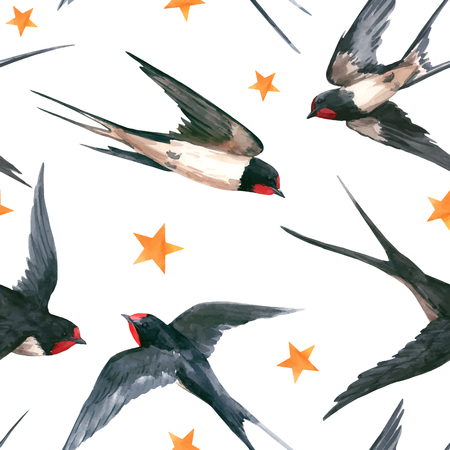 Watercolor swallow vector pattern Çizim