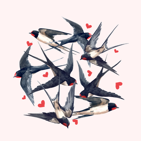 Beautiful vector composition with hand drawn watercolor swallow birds