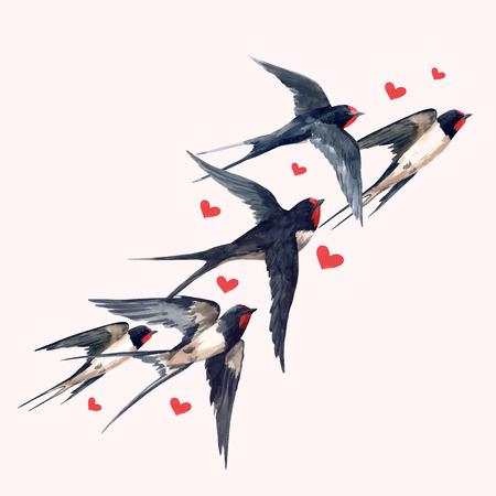 Bella composizione vettoriale con uccelli di rondine acquerello disegnati a mano Vettoriali