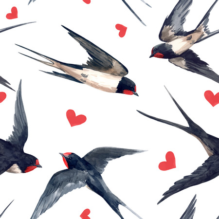Beautiful vector seamless pattern with hand drawn watercolor swallow birds Çizim