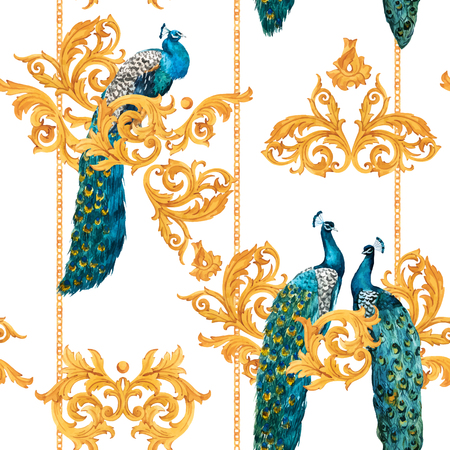 Beautiful vector seamless pattern with hand drawn watercolor peacocks with gold elements