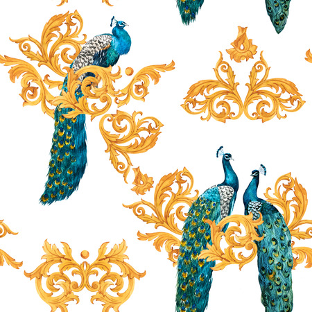 Watercolor peacock golden pattern