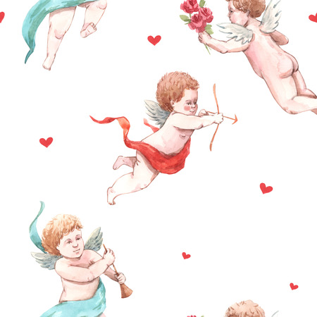Watercolor angel putti pattern Imagens