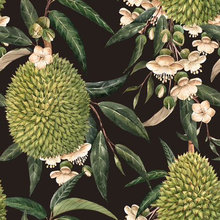 Watercolor durian tropical seamless pattern Stock Photo