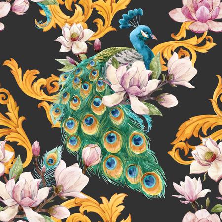 Schönes Vektor nahtloses Muster mit handgezeichneten Aquarellblumen und Pfauen Vektorgrafik