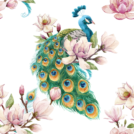 Beautiful vector seamless pattern with hand drawn watercolor flowers and peacocks