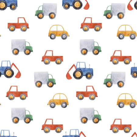 Watercolor baby car vehicle pattern