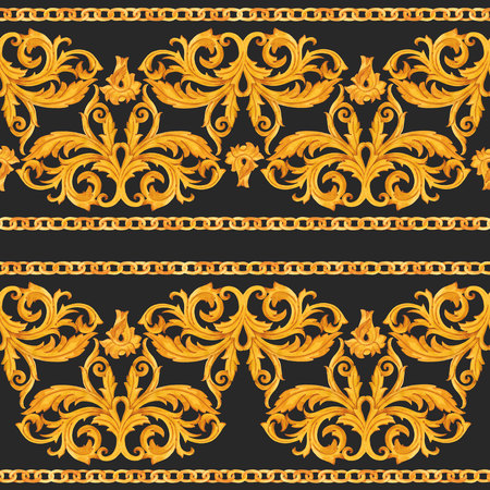 Golden baroque rich luxury pattern