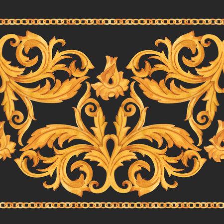 Golden baroque rich luxury pattern Archivio Fotografico