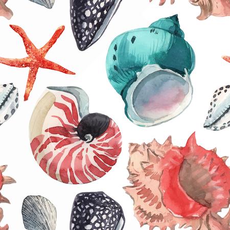 Aquarell-Meeresleben-Vektormuster