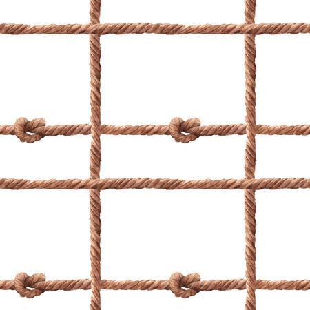 Watercolor rope fishing net vector pattern