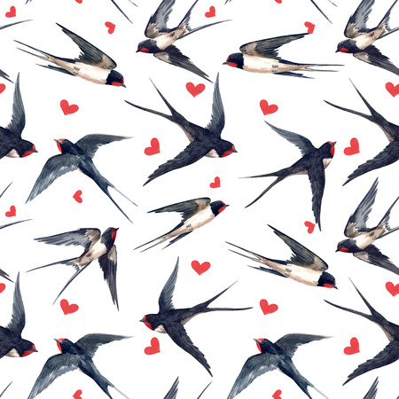 Watercolor swallow pattern Stock fotó