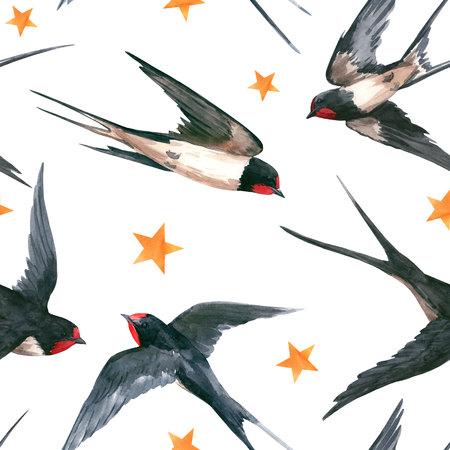 Watercolor swallow pattern Stockfoto