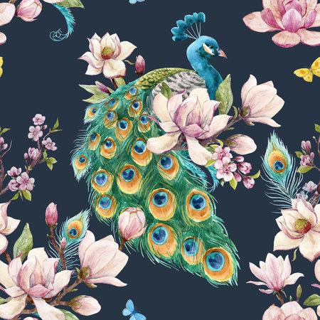 Watercolor peacock pattern Stockfoto