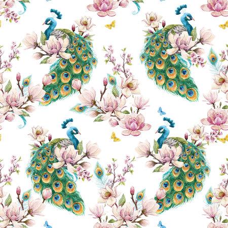 Watercolor peacock pattern Stock fotó