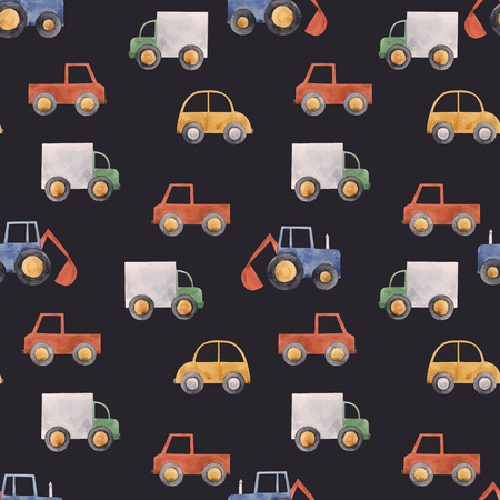 Beautiful vector seamless pattern with hand drawn watercolor baby children car vehicle truck tractor