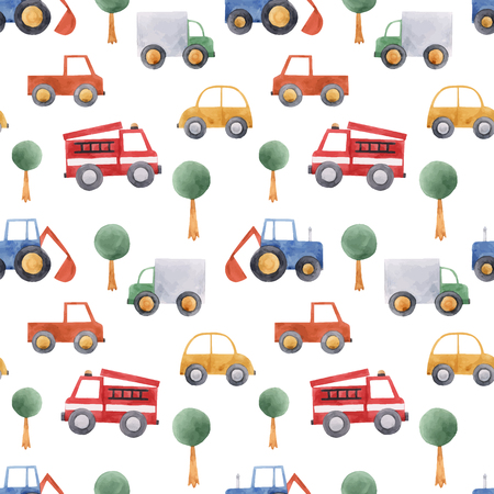 Beautiful vector seamless pattern with hand drawn watercolor baby children car vehicle truck tractor Stockfoto - 122039215