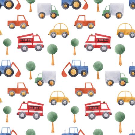 Nahtloses Muster des schönen Vektors mit Hand gezeichnetem Aquarellbabykinderautofahrzeug-LKW-Traktor