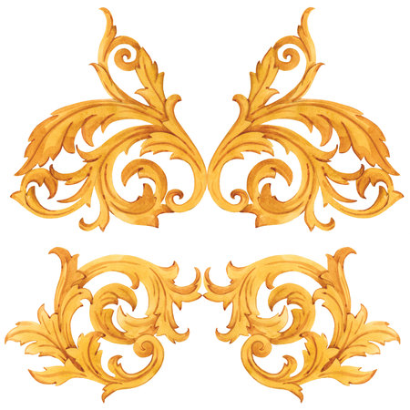 Golden baroque rich luxury elements