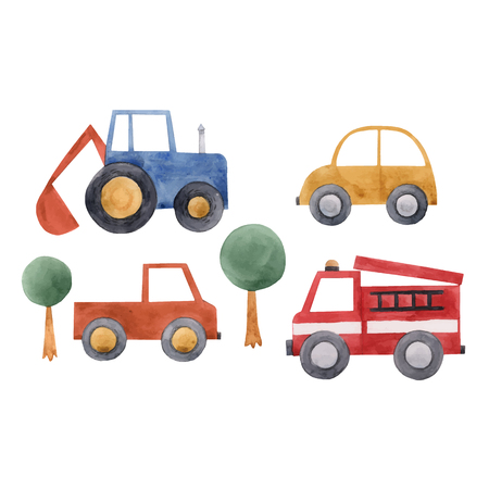 Watercolor baby cars vector set