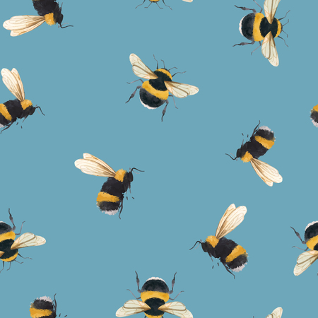 Beautiful vector seamless pattern with watercolor bumblebee bee wasp insect Çizim