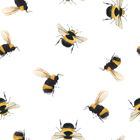 Beautiful vector seamless pattern with watercolor bumblebee bee wasp insect Vectores