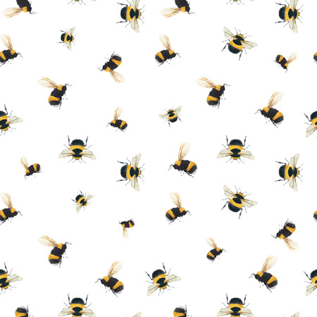 Beautiful vector seamless pattern with watercolor bumblebee bee wasp insect Illustration