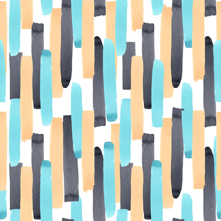 Beautiful vector abstract geometric seamless pattern with watercolor stripes
